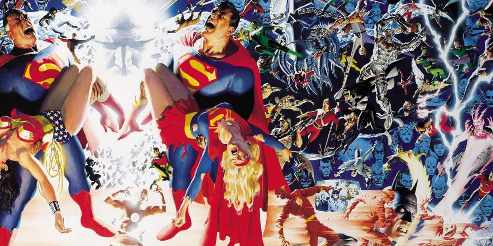 Cover Art for the original comic book crossover: Crisis On Infinite Earths. Michael Keaton's Batman DCEU