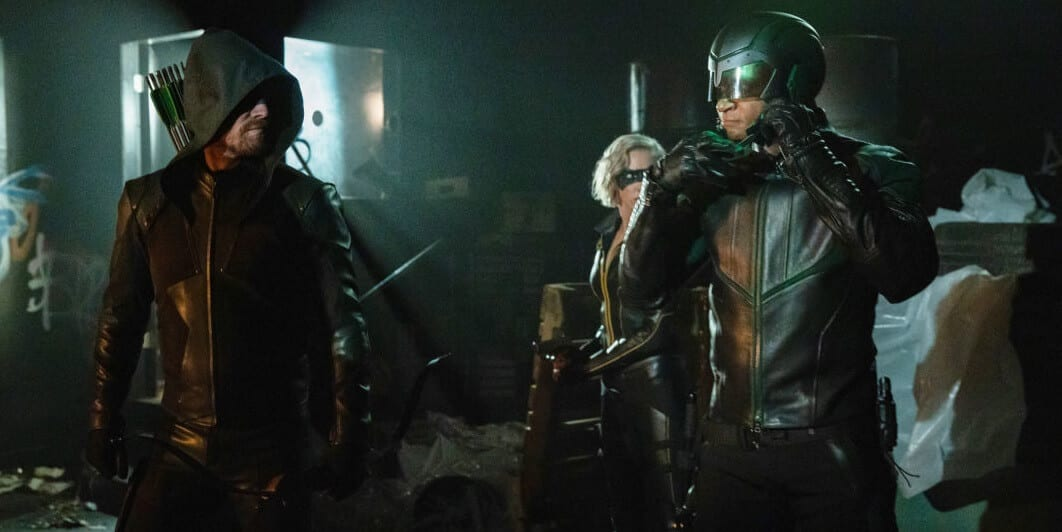 Arrow Season 8 Premiere Oliver and Canary and Spartan