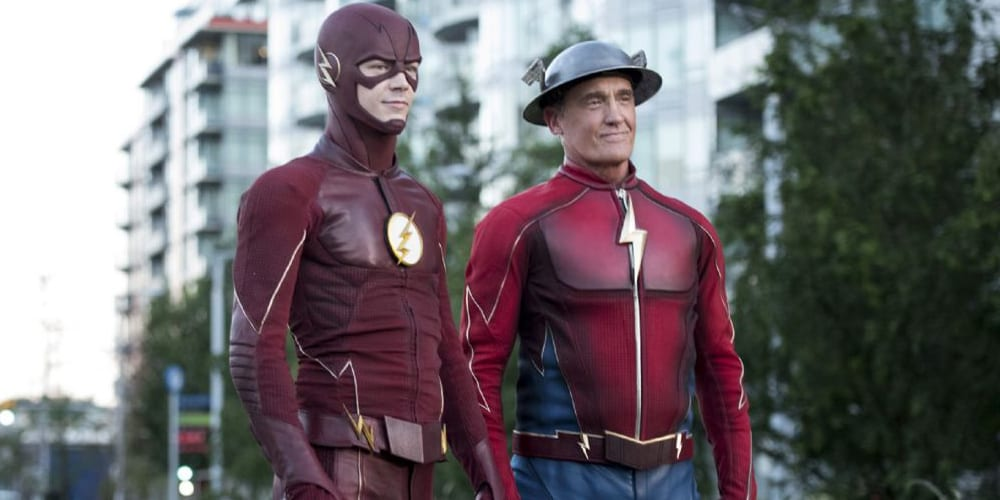 Grant Gustin and John Wesley Shipp In The CW's Arrowverse show, The Flash.