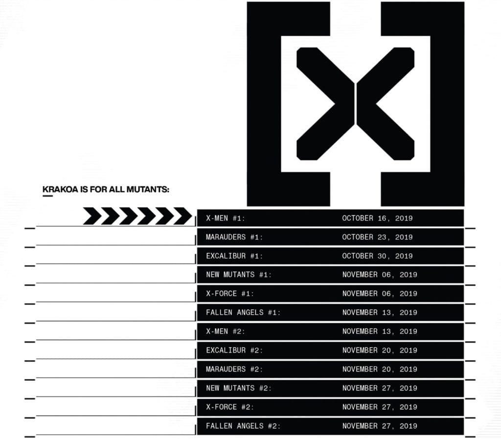 Dawn of X titles, X-Men, Fallen Angels, New Mutants, Marauders, Excalibur, X-Force, Marvel Comics