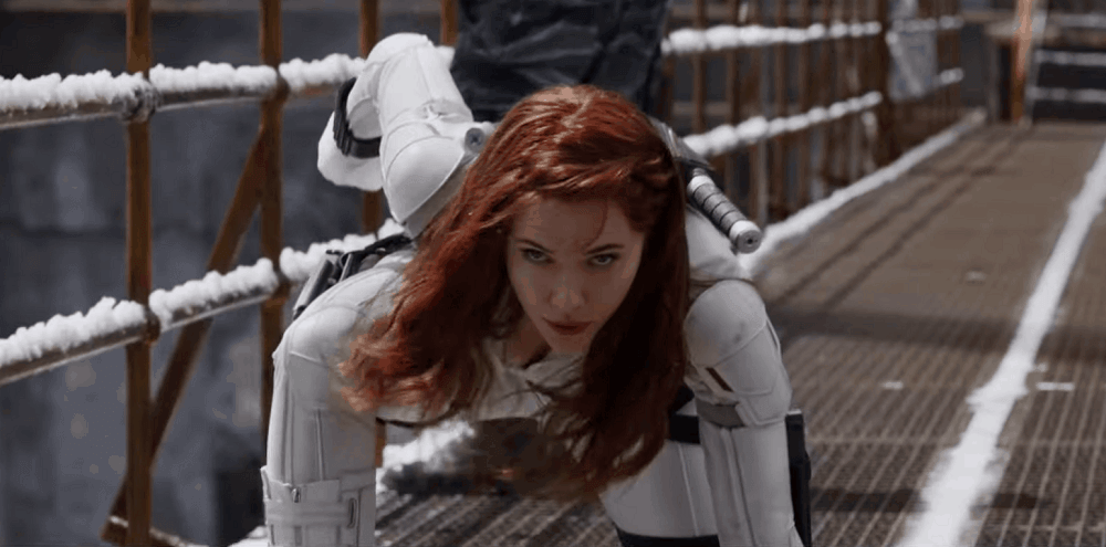 Black Widow Trailer Dope White Suit