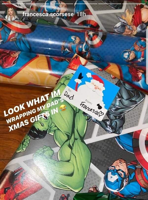Francesca Scorsese Martin Marvel Wrapping Paper Screenshot Instagram