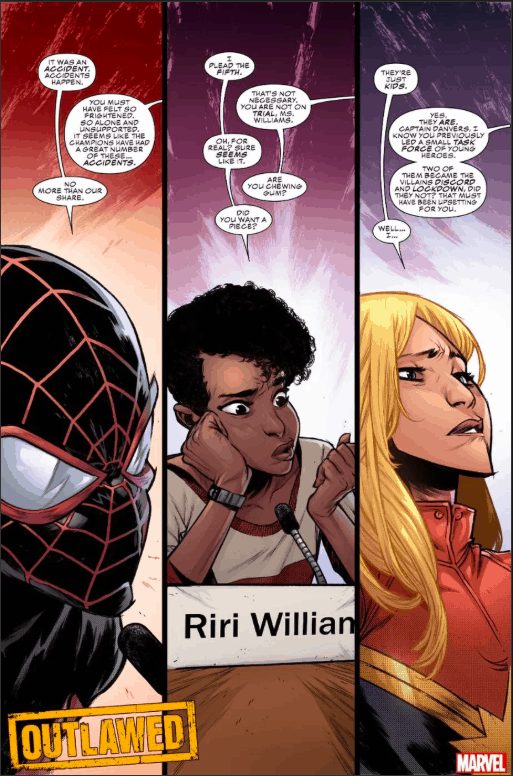 Marvel Comics, Outlawed, Captain Marvel, Ironheart, Miles Morales
