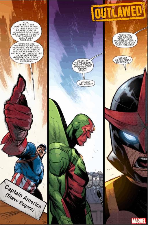 Marvel Comics, Outlawed, Nova, Vision, Captain America