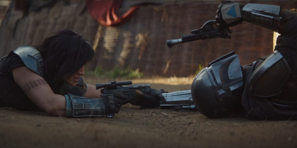 A fight scene with Gina Carano from Episode 4 of The Mandalorian