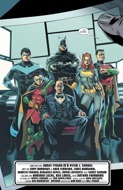Alfred, Batgirl, Red Robin, Batman, Robin, Nightwing, Tim Drake, Damian Wayne, Dick Grayson, Ric Grayson, Barabara Gordon, Bruce Wayne