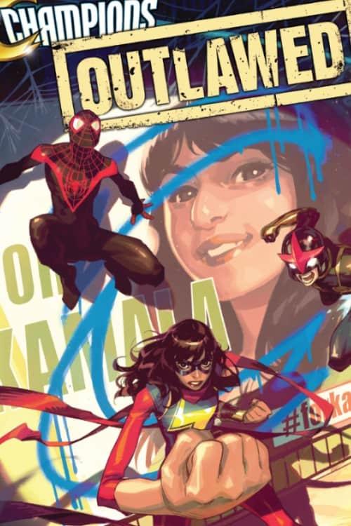 Champions, Outlawed, Kim Jacinto, Eve Ewing, Marvel Comics, Miles Morales, Nova, Ms. Marvel, Kamala Khan, Spider-Man