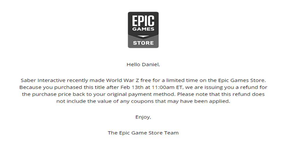 epic games store partial refunds