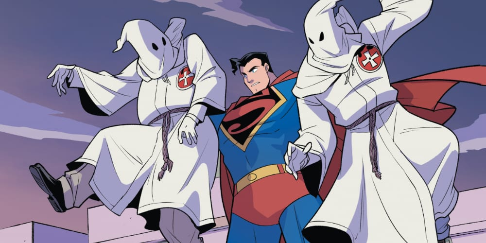 Superman Smashes the Klan, Gene Luen Yang, Middle-Grade Graphic Novel, Newberry Medal, DC Comics, Clark Kent, Man of Steel, Immigration, Donald Trump, George W. Bush, Barack Obama, Charlottesville, white supremacy, racsim, radio show, Chinese-Americans, Free Press, Perry White, Lois Lane, Jimmy Olsen, Metropolis