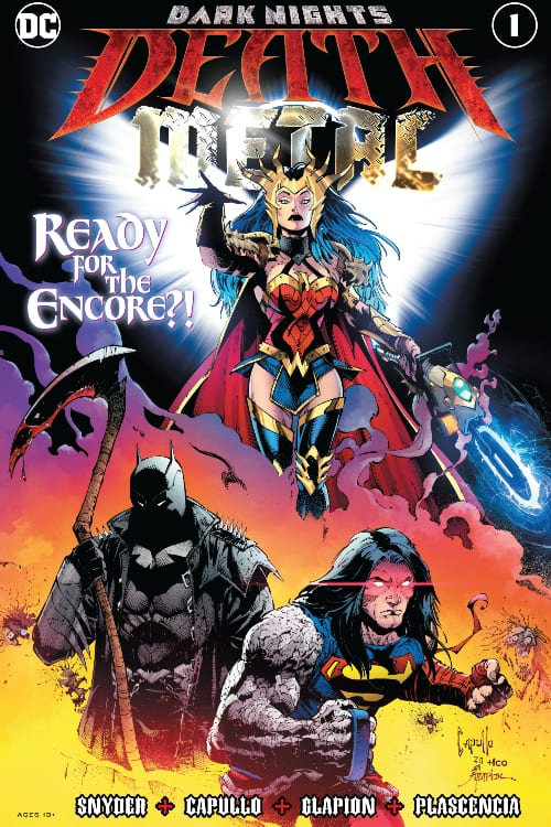 Dark Nights: Death Metal, Wonder Woman, Lasso of Truth, Chainsaw of Truth, Invisible Jet, Themyscira, Hellscape, DCU, DC Comics, Scott Snyder, Greg Capullo, Year of the Villain, Dr. Manhattan, Lobo, Queen of Hell, Joker, Riddler, Killer Croc, Swamp Thing