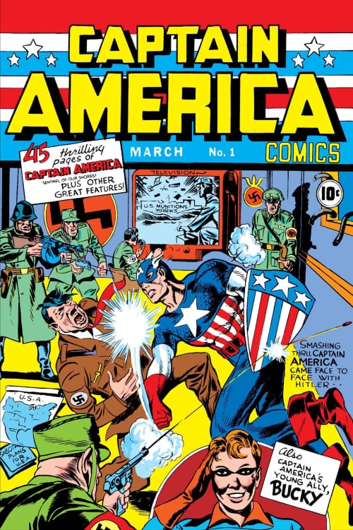 Bucky Barnes, Sam Wilson, Stan Lee, Jack Kirby, Joe Simon, Marvel Comics, World War II, Anti-Fascist, the Avengers, Mark Waid, Nick Spencer, Ed Brubaker, Death of the Dream, Rick Remender, Red Skull, Winter Soldier, Hydra, Sharon Carter, Peggy Carter, Chris Evans, Hugo Weaving, Joe Johnston, Russo Brothers