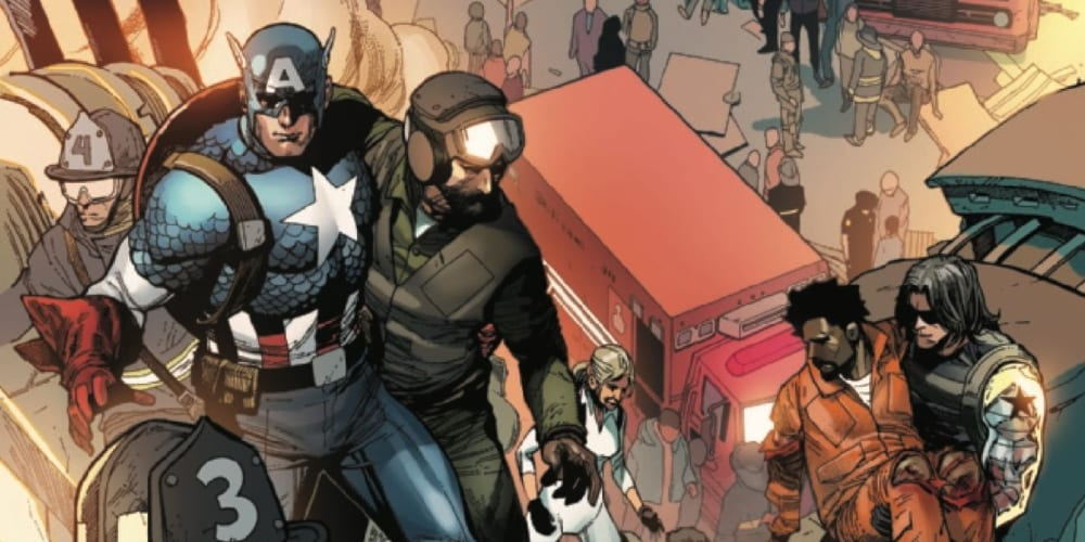 Captain America, Steve Rogers, Bucky Barnes, Sam Wilson, Stan Lee, Jack Kirby, Joe Simon, Marvel Comics, World War II, Anti-Fascist, the Avengers, Mark Waid, Nick Spencer, Ed Brubaker, Death of the Dream, Rick Remender, Red Skull, Winter Soldier, Hydra, Sharon Carter, Peggy Carter, the Falcon, Super Soldier, the Heroic Age, Ta-Nehisi Coates
