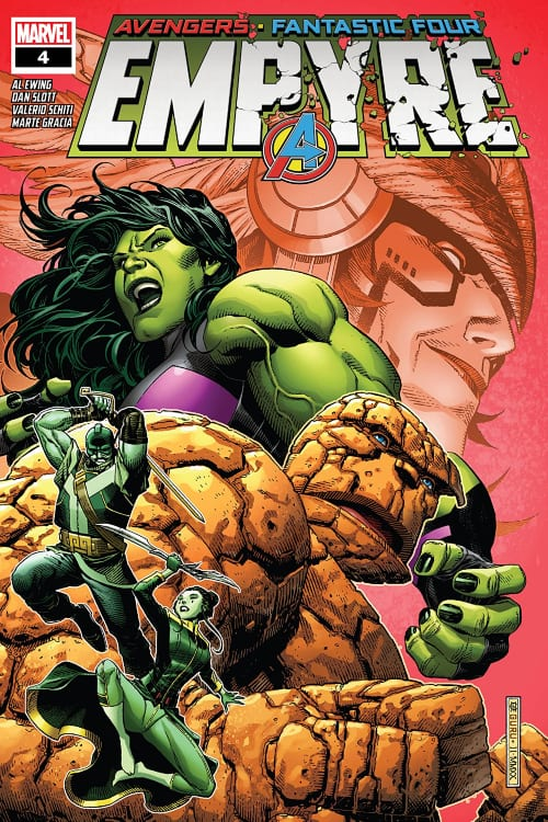 She-Hulk, Marvel's Empyre August Checklist, Thing, Wakanda, Black Panther, Kree, Skrulls, Avengers, Fantastic Four, Swordsman, Cotati, Mantis, Celestial Messiah