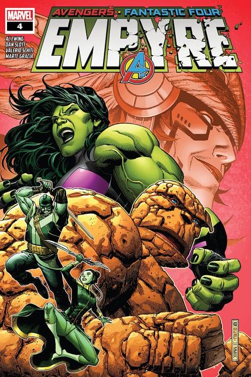 She-Hulk, Marvel's Empyre August Checklist, Thing, Wakanda, Black Panther, Kree, Skrulls, Avengers, Fantastic Four, Swordsman, Cotati, Mantis, Celestial Messiah