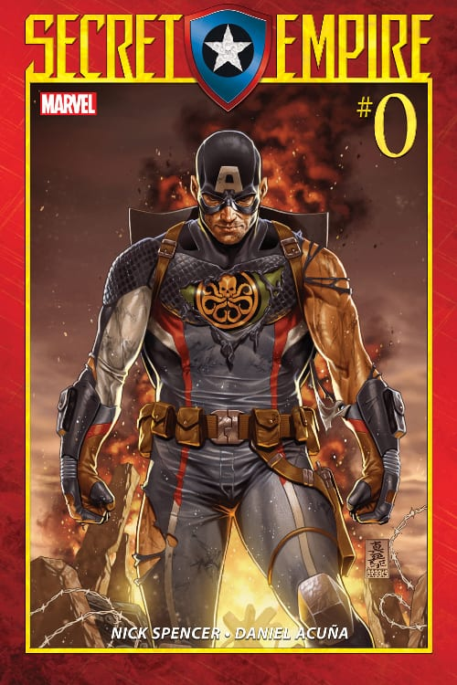 Bucky Barnes, Sam Wilson, Stan Lee, Jack Kirby, Joe Simon, Marvel Comics, World War II, Anti-Fascist, the Avengers, Mark Waid, Nick Spencer, Ed Brubaker, Death of the Dream, Rick Remender, Red Skull, Winter Soldier, Hydra, Sharon Carter, Peggy Carter, the Falcon, Secret Empire, Hydra Cap, Cosmic Cube