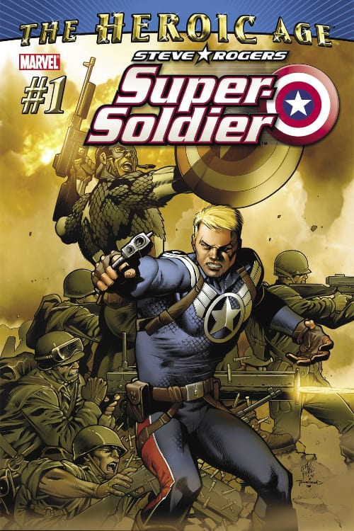 Captain America, Steve Rogers, Bucky Barnes, Sam Wilson, Stan Lee, Jack Kirby, Joe Simon, Marvel Comics, World War II, Anti-Fascist, the Avengers, Mark Waid, Nick Spencer, Ed Brubaker, Death of the Dream, Rick Remender, Red Skull, Winter Soldier, Hydra, Sharon Carter, Peggy Carter, the Falcon, Super Soldier, the Heroic Age