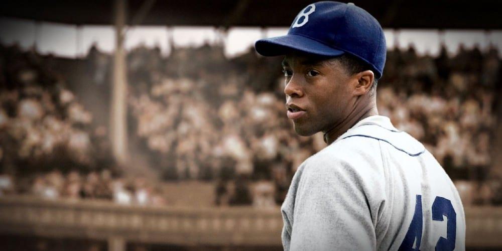 Chadwick Boseman Iconic Roles, Jackie Robinson, 42 movie, baseball, Harrison Ford, Chadwick Boseman dead