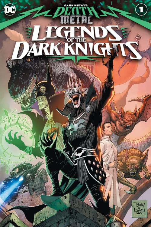 Dark Nights: Death Metal, The Batman Who Laughs, Sentient Batmobile, Batmanhattan, Bruce Wayne, Joker, Wonder Woman, Superman, Dark Knights, Perpetua, Hell Arisen