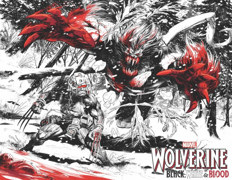 Wolverine: Black, White, and Blood, Harley Quinn: Black, White, and Red, Gerry Duggan, Adam Kubert, Vita Ayala, Chris Claremont, Saladin Ahmed, Donny Cates, Ed Brisson, Kelly Thompson, Greg Land, Salvador Larroca, Kev Walker, Chris Bachalo, Leonard Kirk, Declan Shelvey, Matthew Rosenberg, Joshua Cassara, Marvel Comics