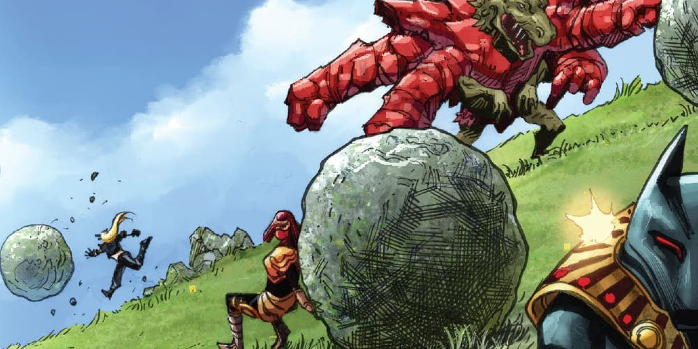 X-Force #14: X of Swords Chapter Seventeen, Wolverine, Magik, Storm, Otherworld, X-Men, Excalibur, Hellions, Cable, Captain Avalon, Captain Britain, the Mad Jim Jaspers, Pogg-Ur-Pogg, Solem, Summoner, Apocalypse, Annihilation, Gorgon, Redroot, Benjamin Percy, Gerry Duggan