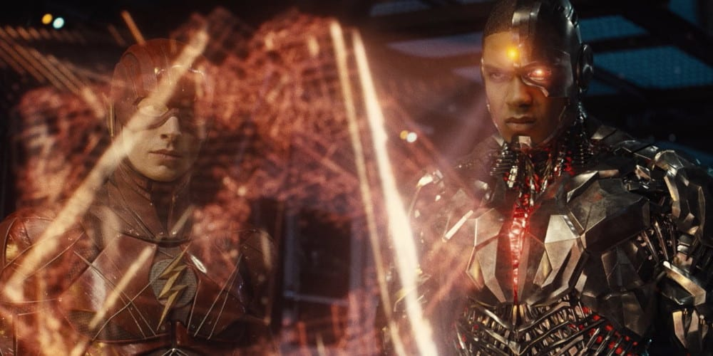 Justice League black and white trailer cyborg.