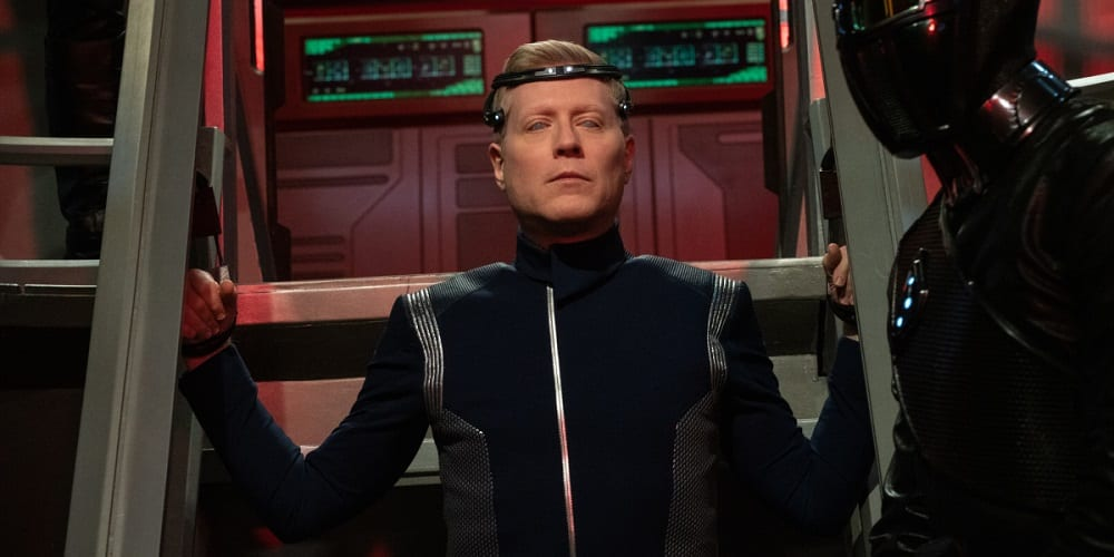"""Star Trek: Discovery Penultimate Episode Season 3 """"There Is A Tide..."""" — Ep#312 — Pictured: Anthony Rapp as Lt. Stamets of the CBS All Access series STAR TREK: DISCOVERY. Photo Cr: Michael Gibson/CBS ©2020 CBS Interactive, Inc. All Rights Reserved."""