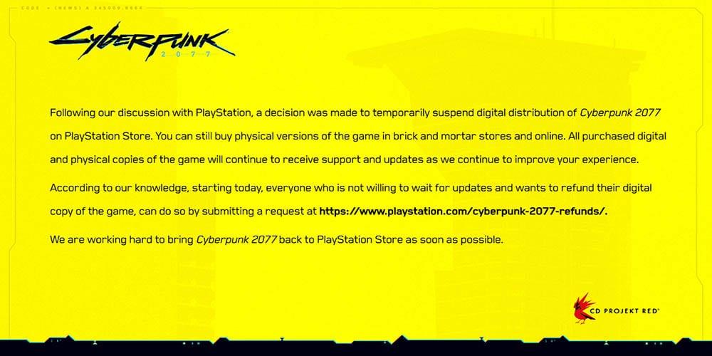 sony removes cyberpunk 2077