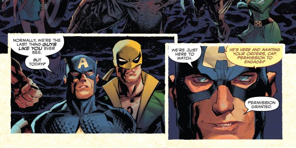 King in Black Week One, Avengers, X-Men, Venom, Spider-Man, Marvel Comics, Donny Cates, Ryan Stegman, Storm, Captain America, Eddie Brock, Iron Man, Sentry, Professor X, Wolverine, Cyclops, Jean Grey, Symbiot Spider-Man