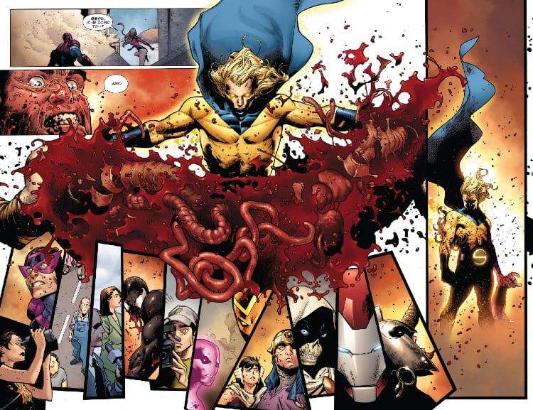 King in Black Week One, Avengers, X-Men, Venom, Spider-Man, Marvel Comics, Donny Cates, Ryan Stegman, Storm, Captain America, Eddie Brock, Iron Man, Sentry, Professor X, Wolverine, Cyclops, Jean Grey, Symbiot Spider-Man, Carnage, New Avengers, Ares, Siege